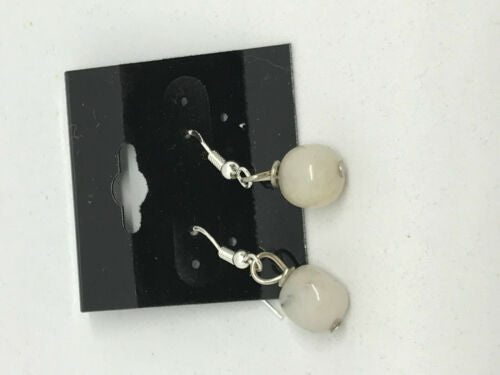 natural snow quartz gemstone cubes sterling silver dangle earrings