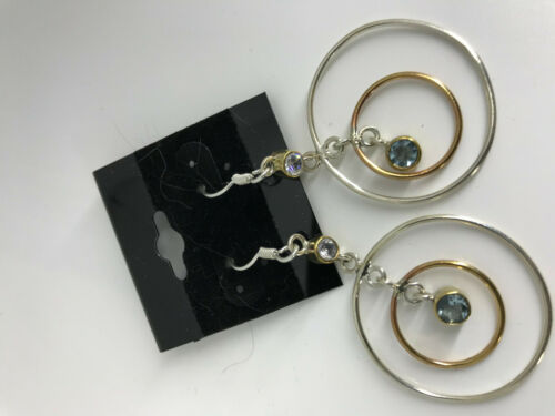 Natural Blue and White Topaz Bold 2 Tone Sterling Silver Dangle Earrings
