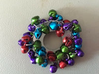 Multicolor Jingle Bell Christmas Wreath Pin Brooch, Stocking Stuffer
