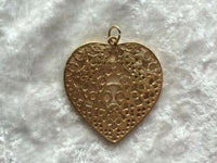 Lovely Gold Tone Filligree Heart Pendant
