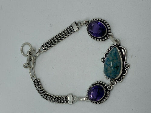 Natural Blue Lace Agate & Amethyst Gemstone Sterling Silver Adjustable Bracelet