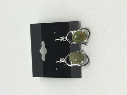 natural unakite gemstone oval in sterling silver heart dangle earrings
