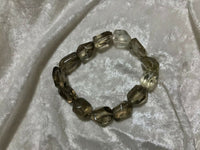natural smoky quartz gemstone faceted tumbled stretch bracelet