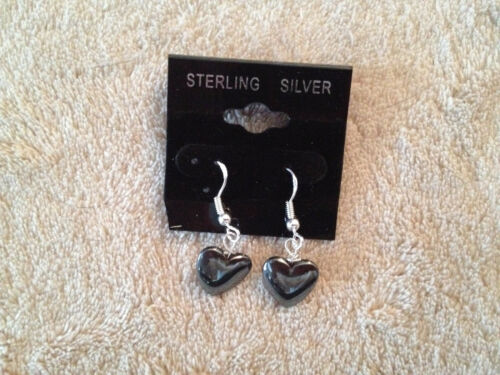 Natural Hematite Gemstone Heart Sterling Silver Dangle Earrings