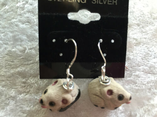 3d ceramic mouse with cheese sterling silver dangle earrings