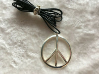 Silvertone Peace Sign Pendant on Adjustable Black Cord Necklace