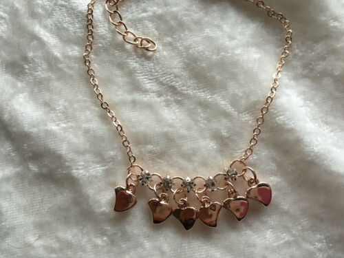 Dainty Rose Gold Tone Adjustable Heart Charm Bracelet