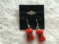 Dog Bone with Paw Print Design Lampworked Glass Dangle Earrings Pet Lover Gift