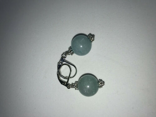 Natural Aquamarine Gemstone Round Sterling Silver Leverback Earrings