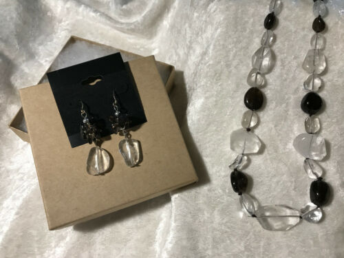 Clear and Smoky Quartz Tumbled Gemstone Beaded Necklace and Dangle Earrings Set