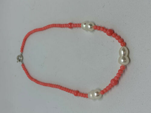 Natural Pink Coral and white Pearl Gemstone Dainty Beaded Necklace