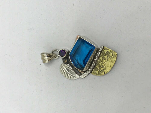 Natural Blue Topaz Rectangle and Amethyst Gemstone Sterling Silver Pendant