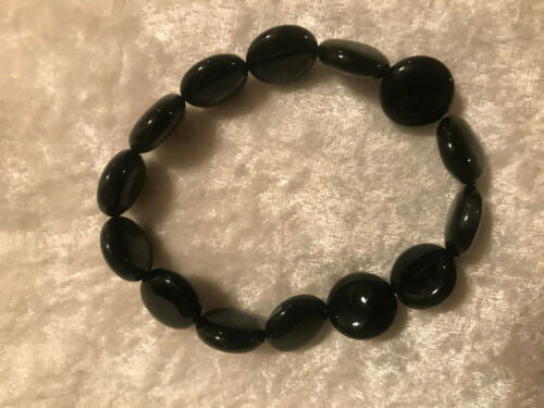 natural black onyx gemstone disks beaded stretch bracelet