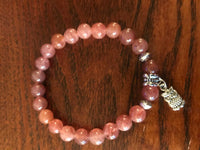natural gemstone beaded stretch charm bracelet with silvertone owl charm
