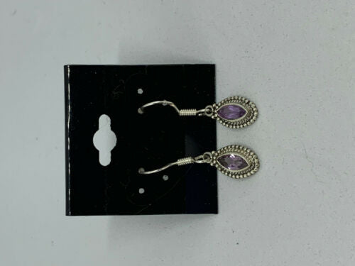 Natural Amethyst Gemstone Marquise Sterling Silver Dangle Earrings