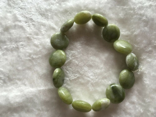 Natural Serpentine Gemstone Puffy Disk Beaded Stretch Bracelet