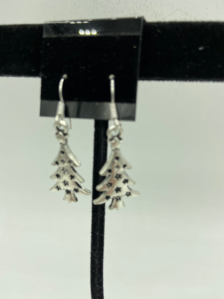 Silvertone Christmas Tree with Star Charm Dangle Earrings