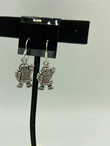 Silvertone Christmas Santa Waving Charm Dangle Earrings