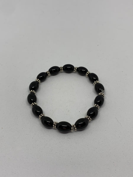 Natural Black Onyx Gemstone Rice and Silvertone Beaded Stretch Bracelet