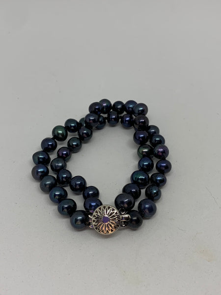 Natural Black Pearl Gemstone 2 Strand Round Beaded Bracelet