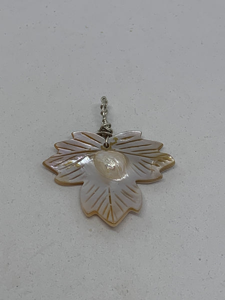 Natural Blister Pearl Shell Carved Leaf Pendant