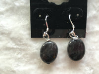 Natural Blue Labradorite Gemstone Oval Dangle Sterling Silver Earrings