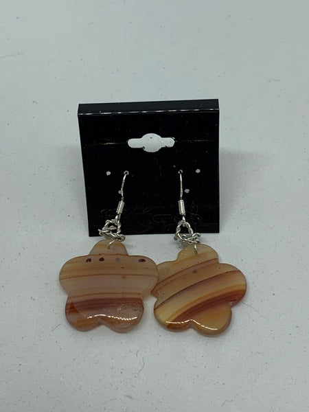 Natural Brown Agate Gemstone Flower Sterling Silver Dangle Earrings