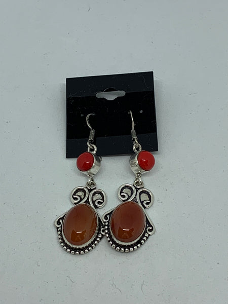 Natural Carnelian Gemstone Round and Oval Cabochon Dangle Sterling Silver Earrings