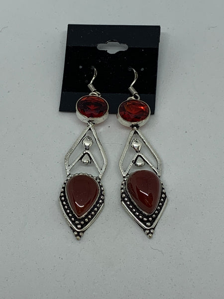 Natural Carnelian Gemstone Teardrop and Round Sterling Silver Dangle Earrings