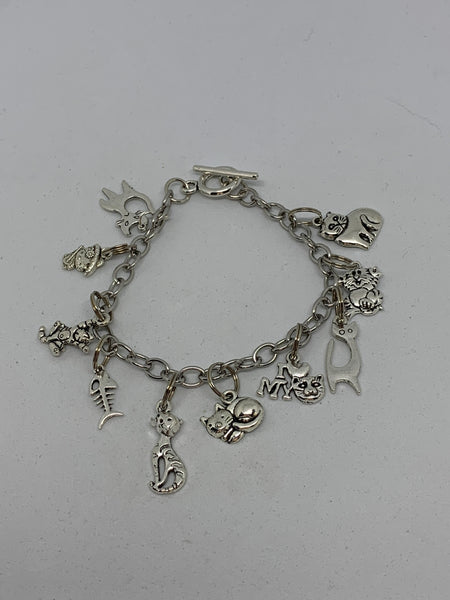 Whimsical Silvertone Cat Themed Charm Bracelet Pet Lover Gift