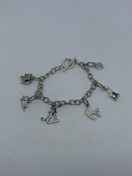 Cute Silvertone Cat Themed Charm Bracelet Pet Lover Gift