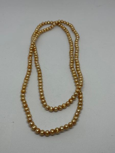 Champagne Colored Round Freshwater Pearls Long Beaded Necklace
