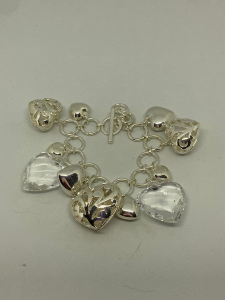 Silver and Clear Acrylic Hearts Statement Toggle Charm Bracelet