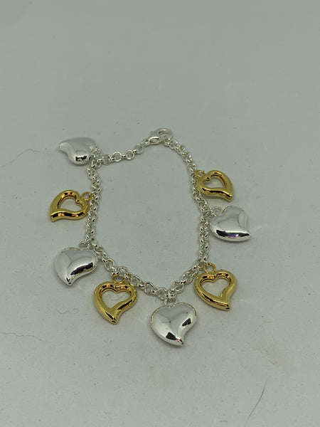 Silver Puffed and Gold Open Hearts Two Tone Charm Bracelet