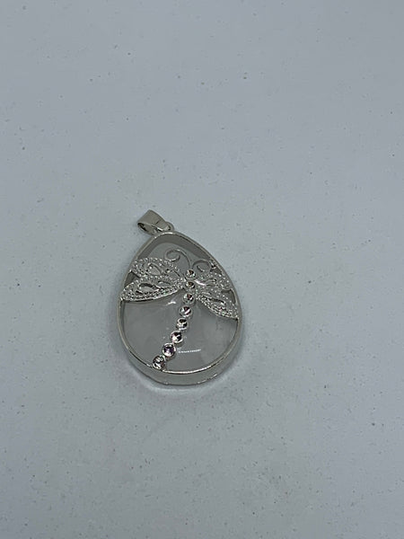 Natural Clear Quartz Gemstone Teardrop Pendant with Silvertone Dragonfly