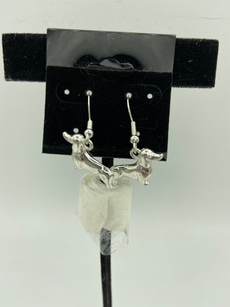 silvertone 3d dachshund charm dangle earrings with sterling silver hooks