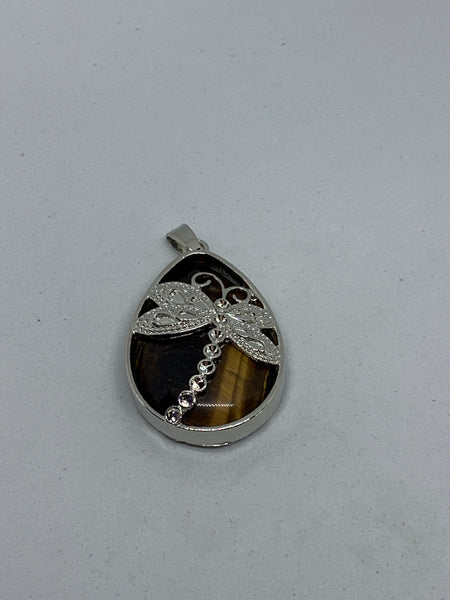 Natural Tiger Eye Gemstone Teardrop Pendant with Silvertone Dragonfly