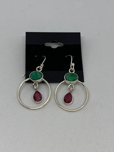 Natural Emerald and Ruby Gemstone Dangle Sterling Silver Earrings