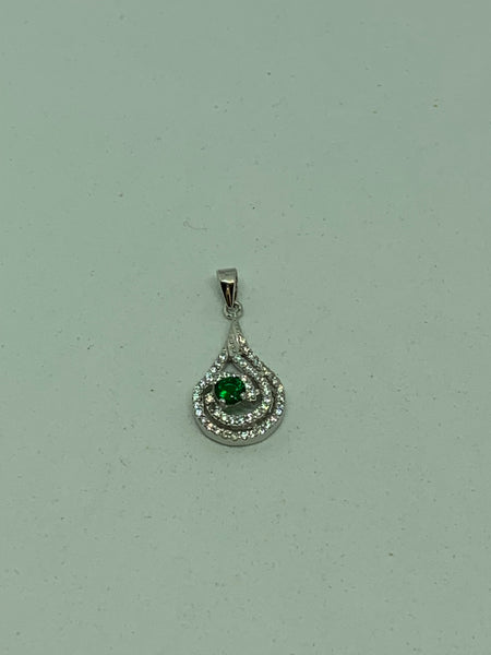 Natural Emerald and White Topaz Gemstone Sterling Silver Pendant