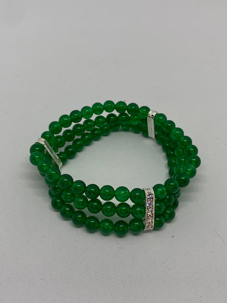 Natural Emerald Gemstone and Silver 3 Row Beaded Stretch Bracelet