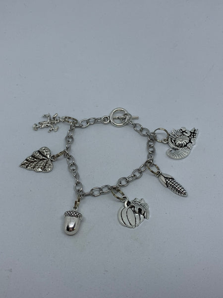Silvertone Fall Autumn Harvest Themed Toggle Charm Bracelet