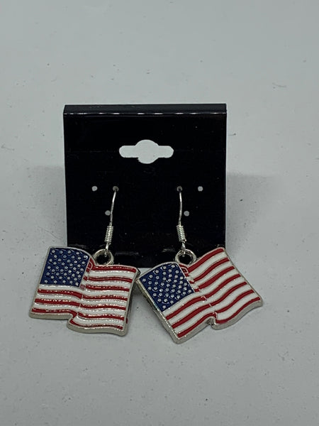 Silvertone Enamel Flag Charm Dangle Earrings with Sterling Silver Hooks