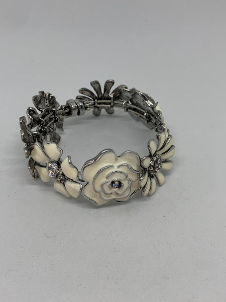 Silver and White Enamel Flowers Bangle Bracelet with Magnetic Clasp