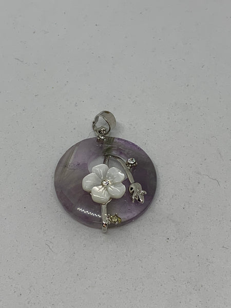 Natural Amethyst Gemstone Disk With Shell Flower Pendant