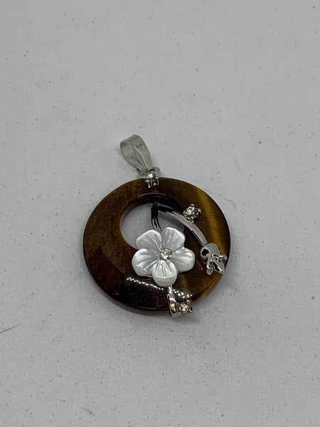 Natural Tiger Eye Gemstone Disk with Shell Flower Pendant