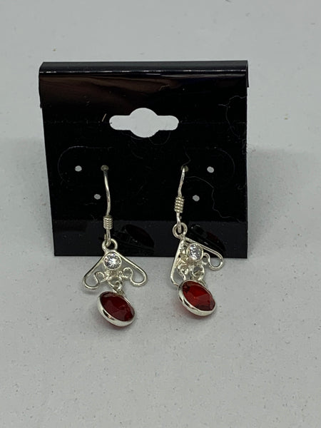 Natural Garnet and White Topaz Dainty Sterling Silver Dangle Earrings