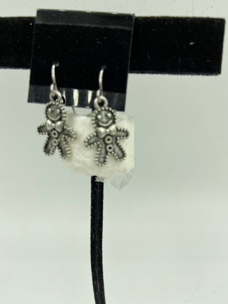 Christmas Silvertone Gingerbread Man Charm Dangle Earrings