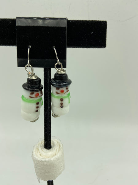 Christmas 3D Lampworked Glass Snowman Dangle Earrings