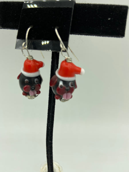 christmas lampworked glass dog dangle earrings