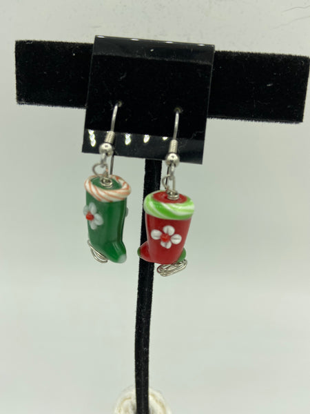 Christmas Lampworked Glass Stocking Dangle Earrings